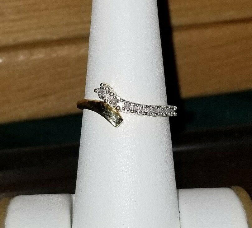 79a552b1e Details about Kay Jewelers 10k Yellow gold journey Diamond wedding band  enhancer guard ring #1