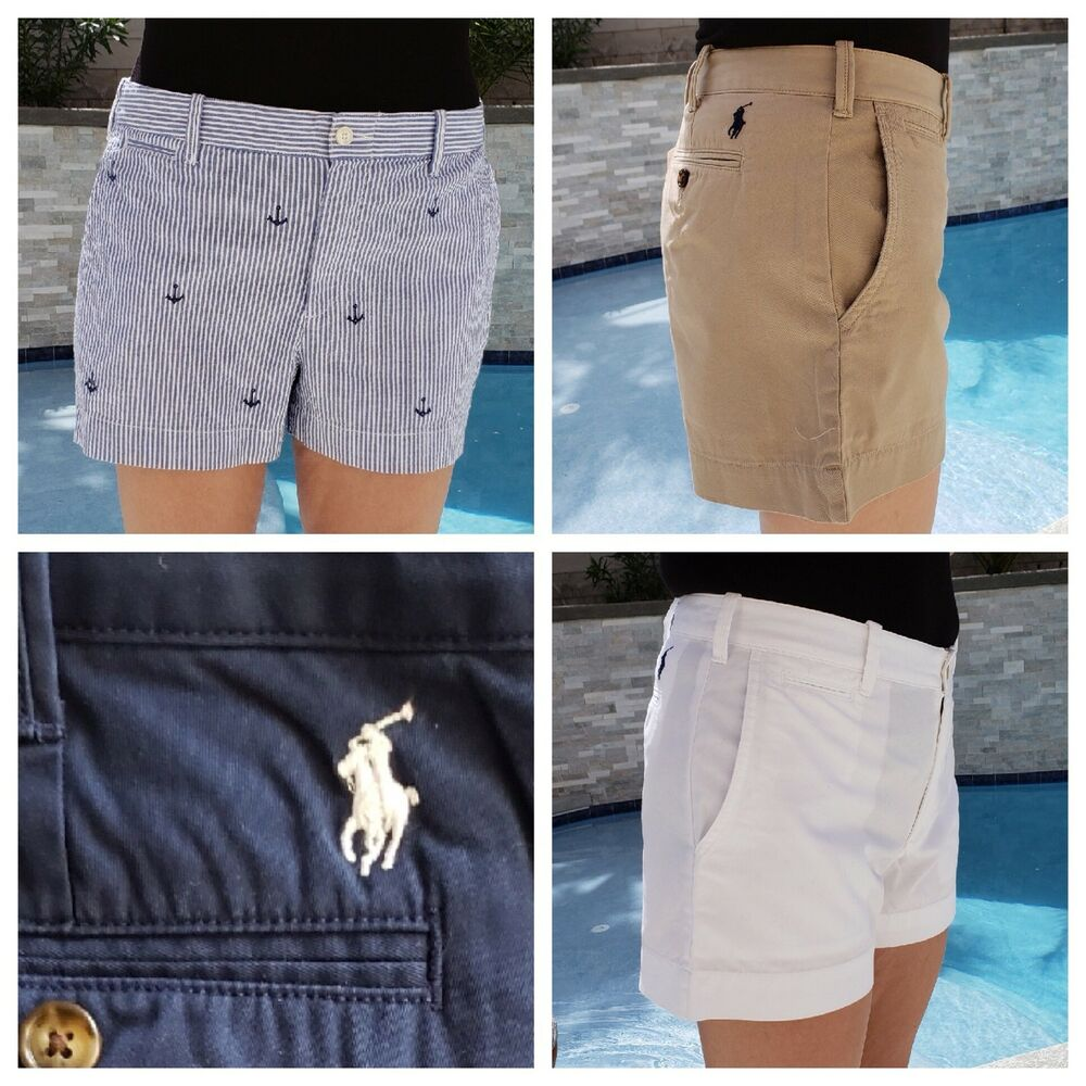 34372e01f1 Details about Polo RALPH LAUREN Womens Shorts chinos 6 8 10 12 14 tan blue  white stripe anchor
