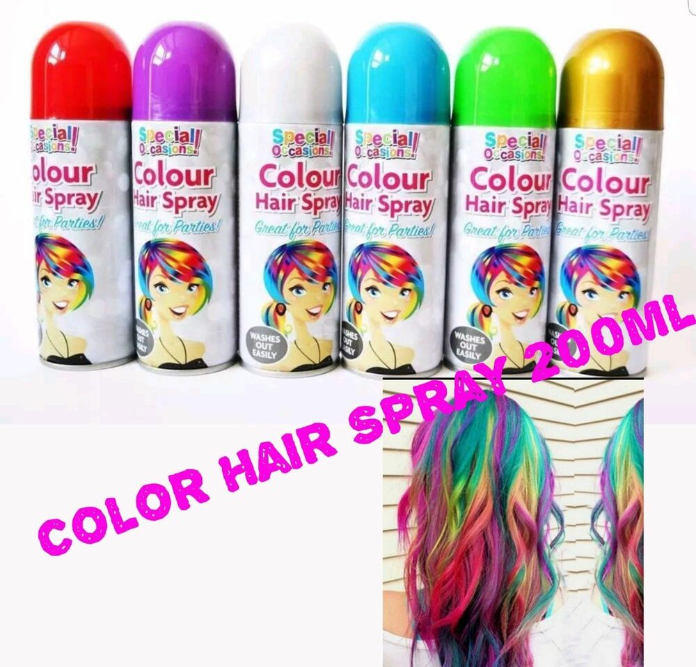 Temporary Coloured Hair Spray Wash Out Hairspray 200ml Full Coverage