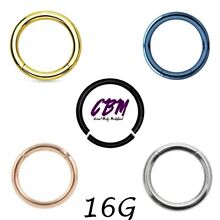 16G Segment Seamless Hoop Nose Tragus Lip Cartilage Septum Helix Continuous Ring