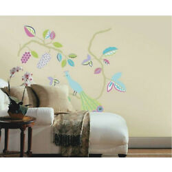 PEACOCK Wall Decal Sticker Mural Fork Art Leaves Tree Branch Made in Canada