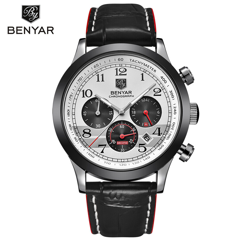 6d64a644db7 Details about Benyar Men s Military Sports Japan Quartz Watches Chronograph  Waterproof Watch