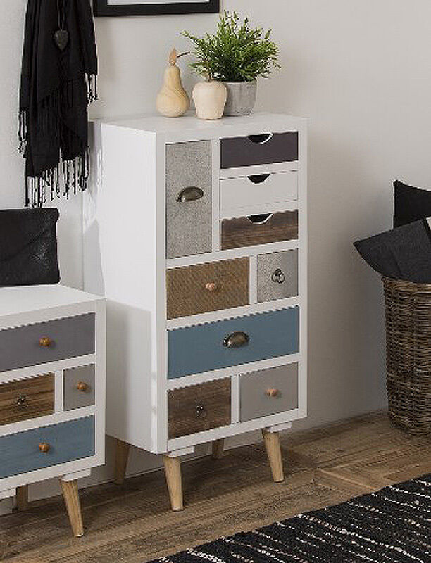Retro Bedroom Furniture Vintage Chest Drawers Shabby Chic Tallboy White Cabinet 8945065845420