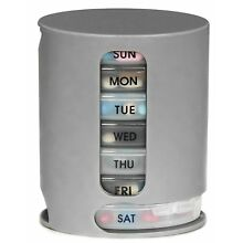 7 Day Weekly Pill Pro Organizer 4 Compartment Morning Noon Evenin Bed Medication