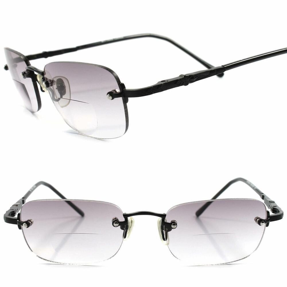0f79aed844 Details about Black Rimless Light Gray Tinted Rectangle Lens Bifocal 1.50 Reading  Sun Glasses