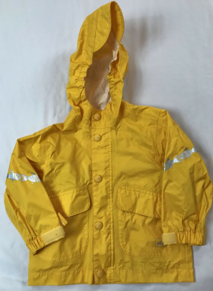 c25f05b89 REI Kids Size 12 Months Yellow Fish Accent Hooded Nylon Raincoat ...