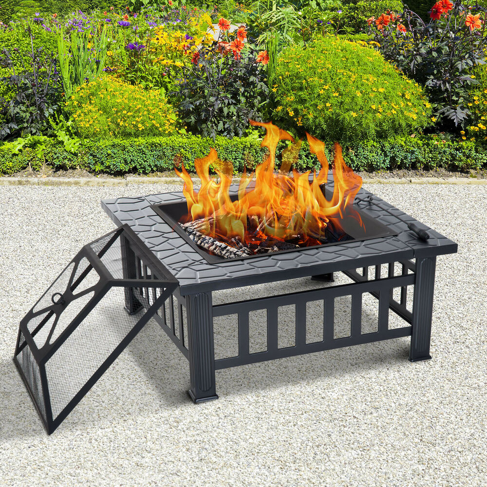 Outsunny Fire Pit Brazier Square Table Metal Garden Stove ...