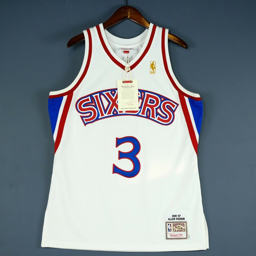 a0f64ce9f4b Details about 100% Authentic Mitchell & Ness Allen Iverson 96 97 Sixers  Jersey Size 44 L Mens