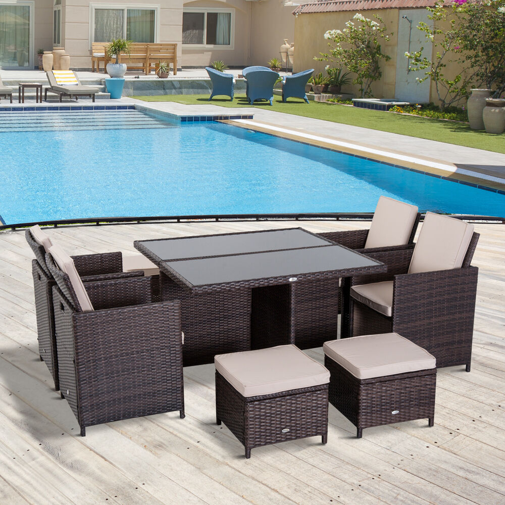 Outsunny Rattan Dining Set Garden Furniture Cube Table ...