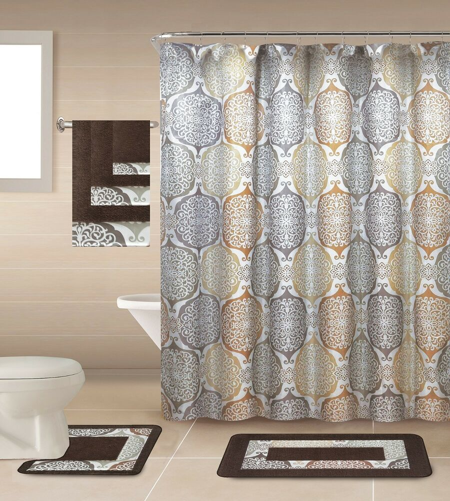 Details About 18 Piece Shower Curtain Set With Geometric Design Made Of 100 Polyester Ronlad