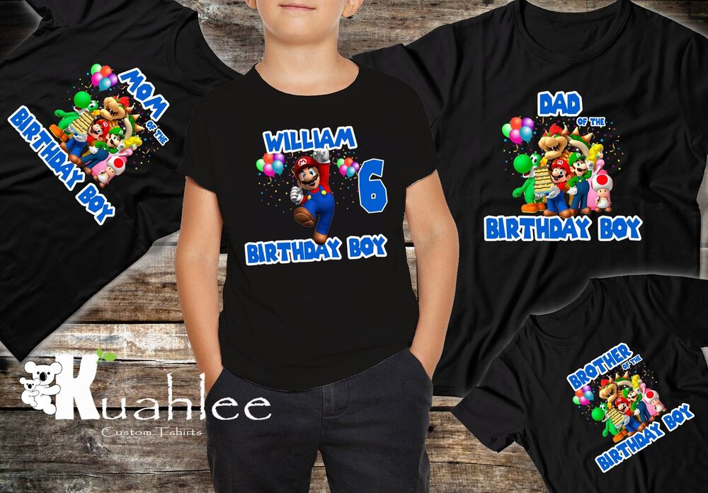 Super Mario Bros Personalized Birthday Party Boy Shirt Family