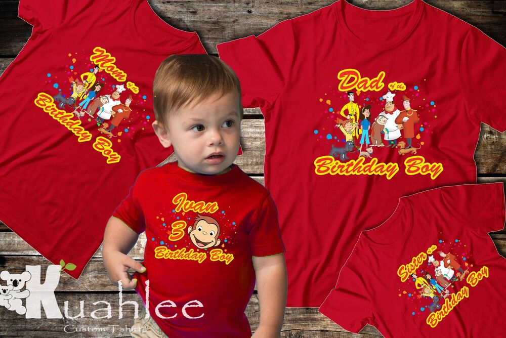 Details About Curious George Personalized Birthday Party Boy Shirt Family Shirts