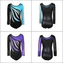Flame Print Kid Girl Long Sleeve Ballet Dance Leotards Gymnastic Fitness Costume