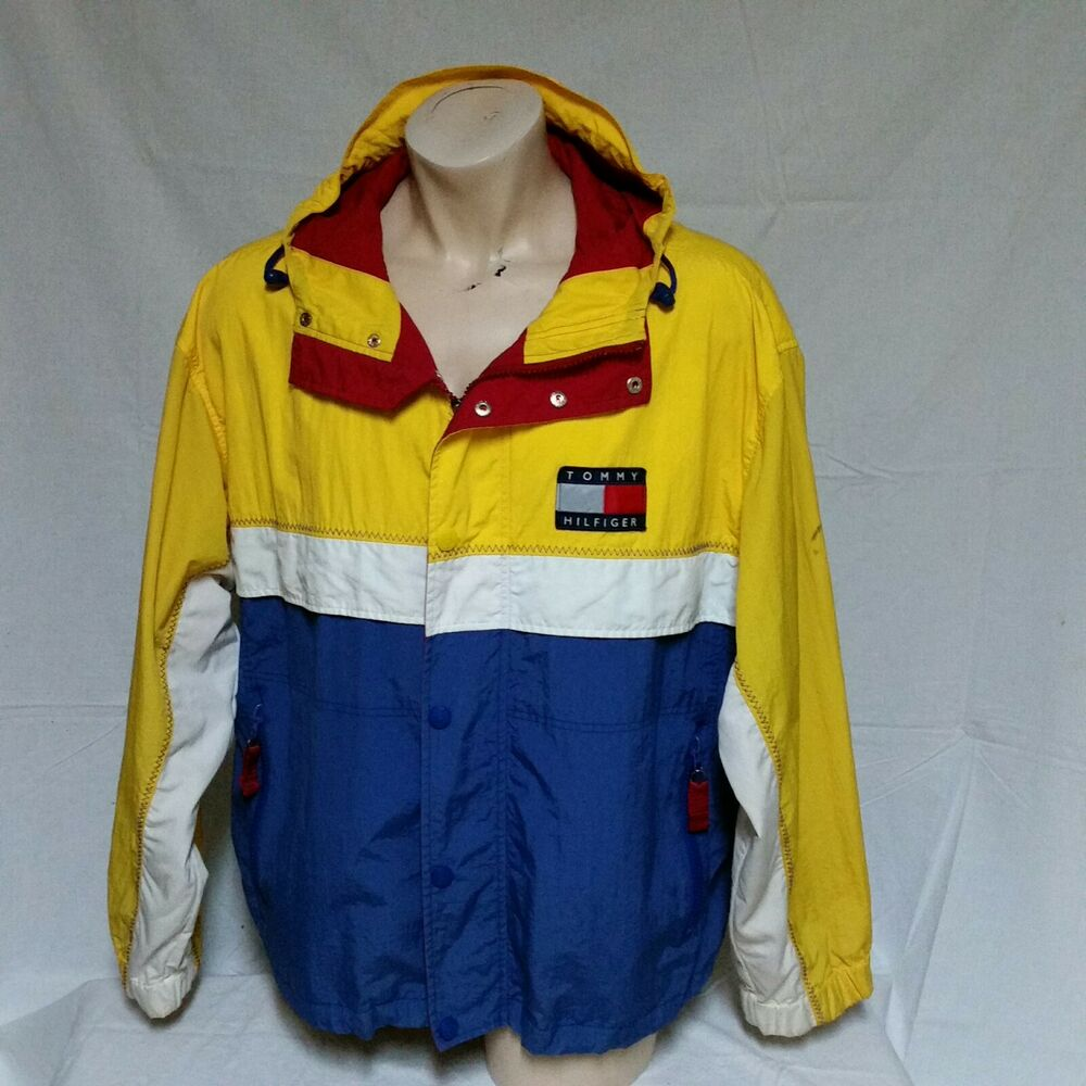 2b41d536 Details about VTG Tommy Hilfiger Sailing Jacket 90s Colorblock Coat Flag  Ski Hood Lotus Large