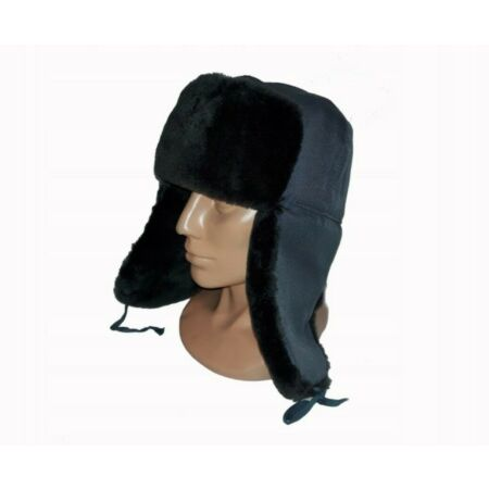 img-BLACK RUSSIAN HAT CAP WARM 100% COTTON DEERSTALKER HAT WITH EAR FLAPS