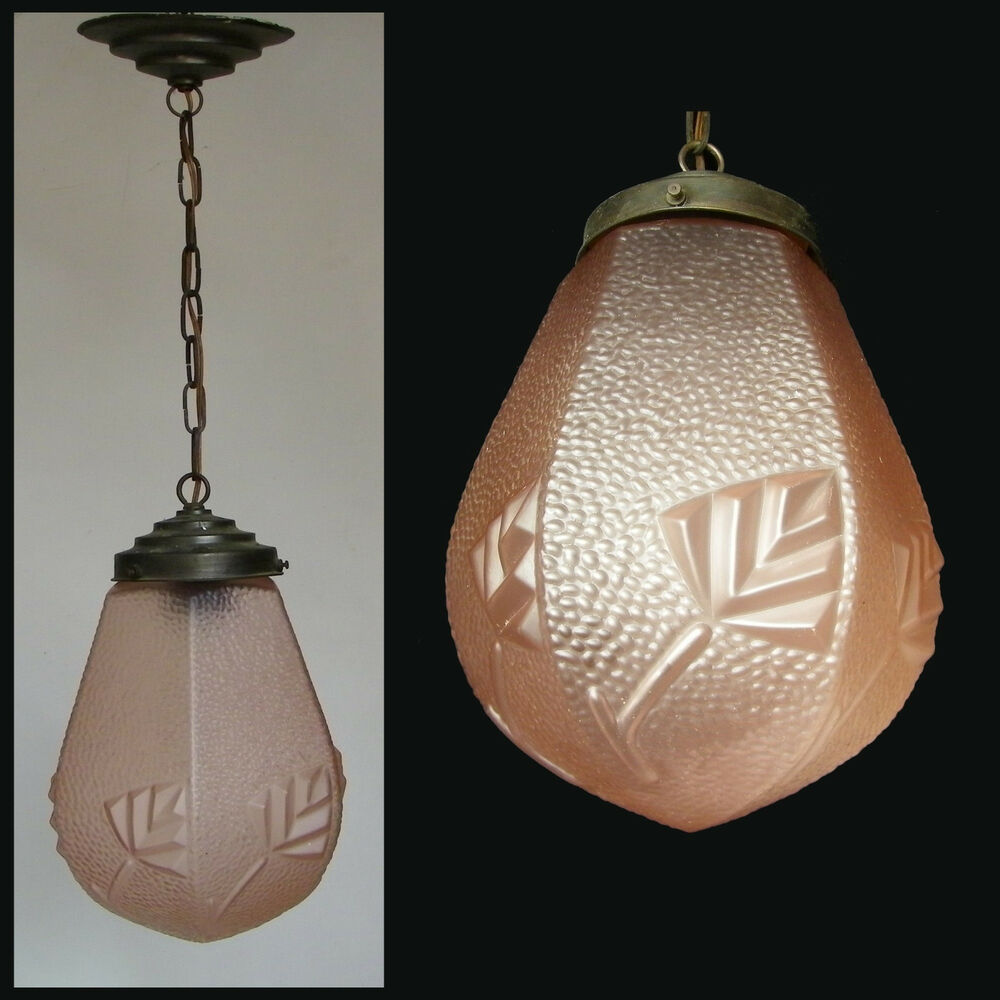 Details About Antique 1930 Art Deco Pink Frosted Gl Globe Hanging Ceiling Light Fixture