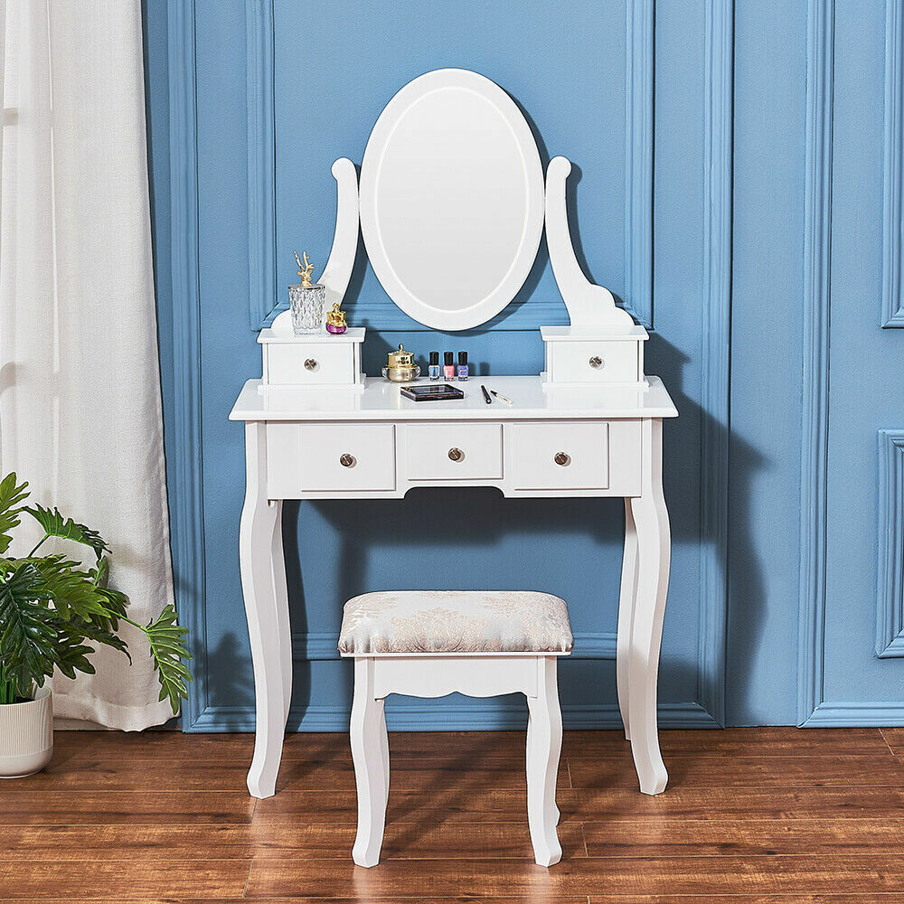 White Dressing Table Vanity Makeup Desk Set And 5 Drawers 1 Mirror