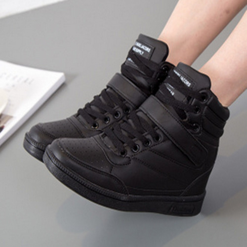 c3be0549756 Details about Stylish Womens High Top Hidden Wedge Sneakers Lace Up Casual  Shoes Ankle Boots