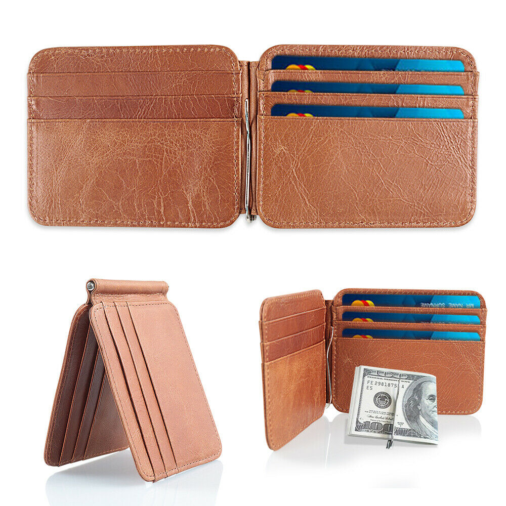 Slim Thin Mens Leather Wallet Money Clip Credit Card ID ...