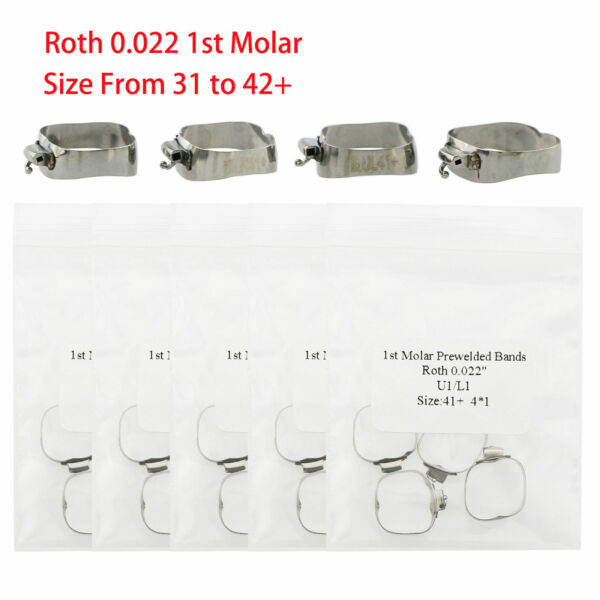 Dental Orthodontic Roth 022 1st Molar Buccal Tube Prewelded Bands 29 to 43+