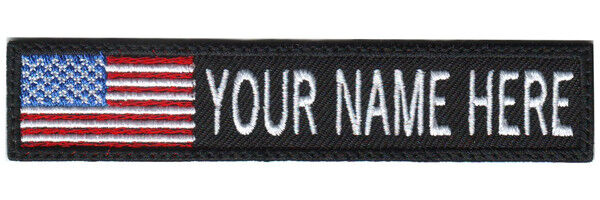 USA ID Flag Custom Embroidered Name / Text Tag Patch