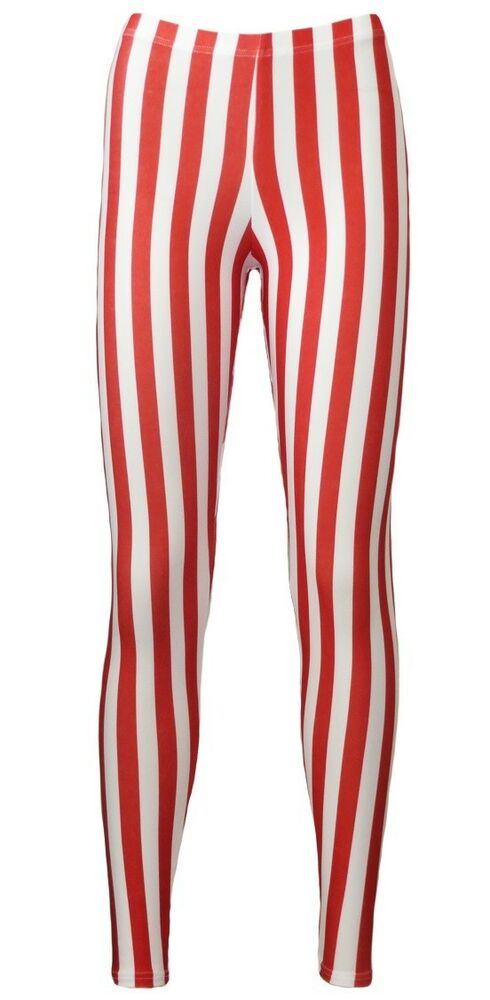 846f3fa2710 Details about Red   White Vertical Stripes Candy Cane Printed Leggings  Fancy Dress Halloween