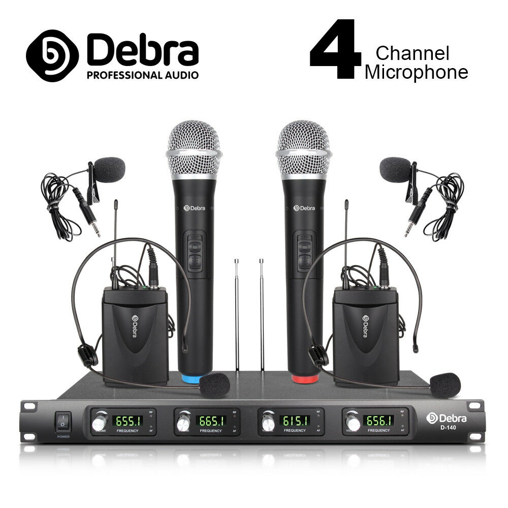 4 channel 2 handheld mic 2 lavalier 2 headset uhf wireless microphone system ebay. Black Bedroom Furniture Sets. Home Design Ideas
