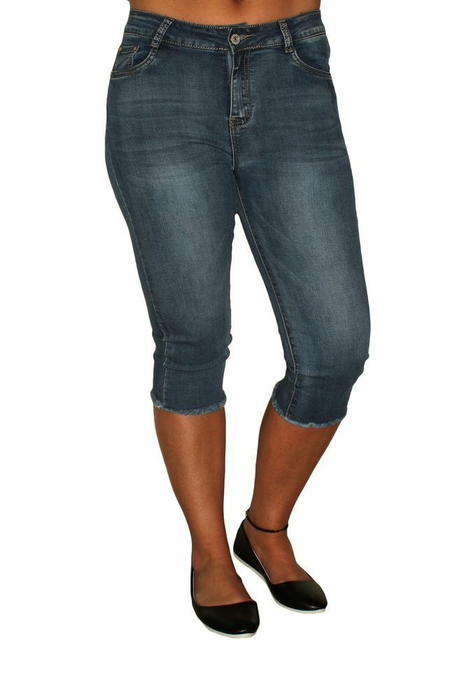 damen 3 4 jeans hose bleached stretch kurz fransen capri hose used look 36 44 ebay. Black Bedroom Furniture Sets. Home Design Ideas