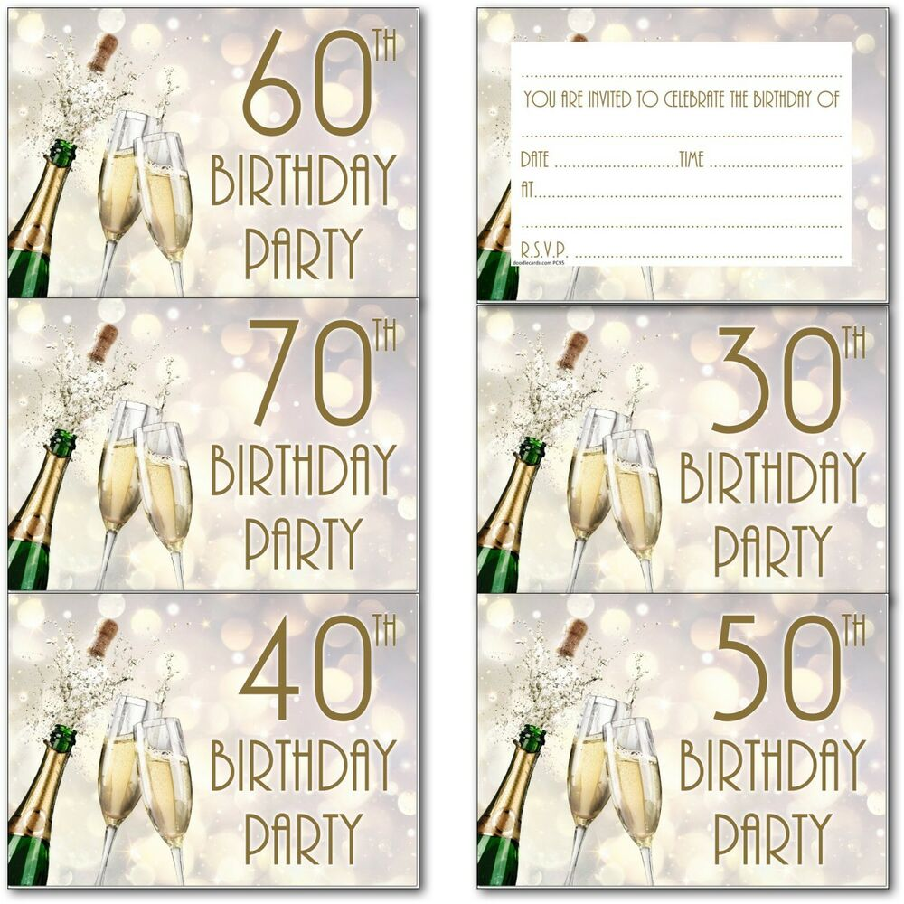 Details About 30th 40th 50th 60th 70th 80th 90th Birthday Party Invitations Invites Pack Of 20