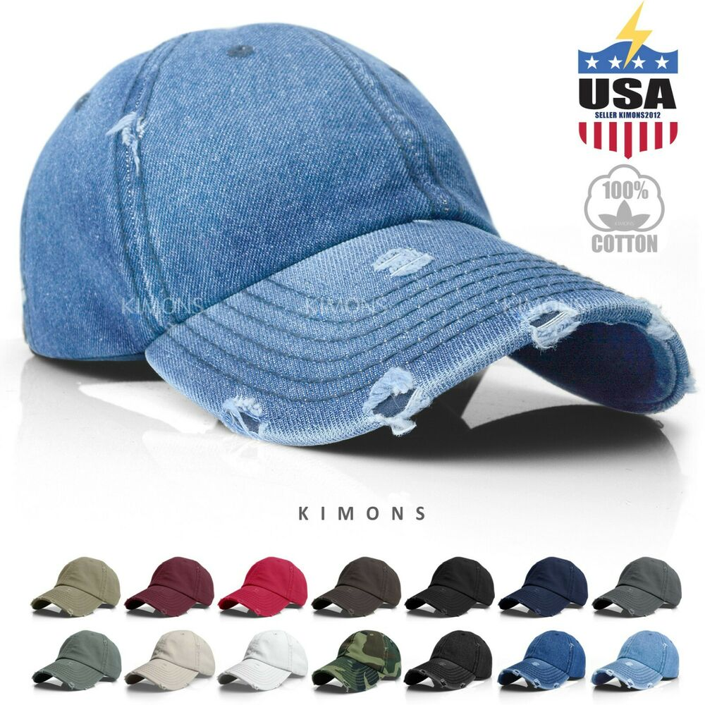 7a3ae68ad5a Details about Vintage Distressed 100% Cotton Solid Polo Denim Baseball Cap  Hat Ball Dad Washed