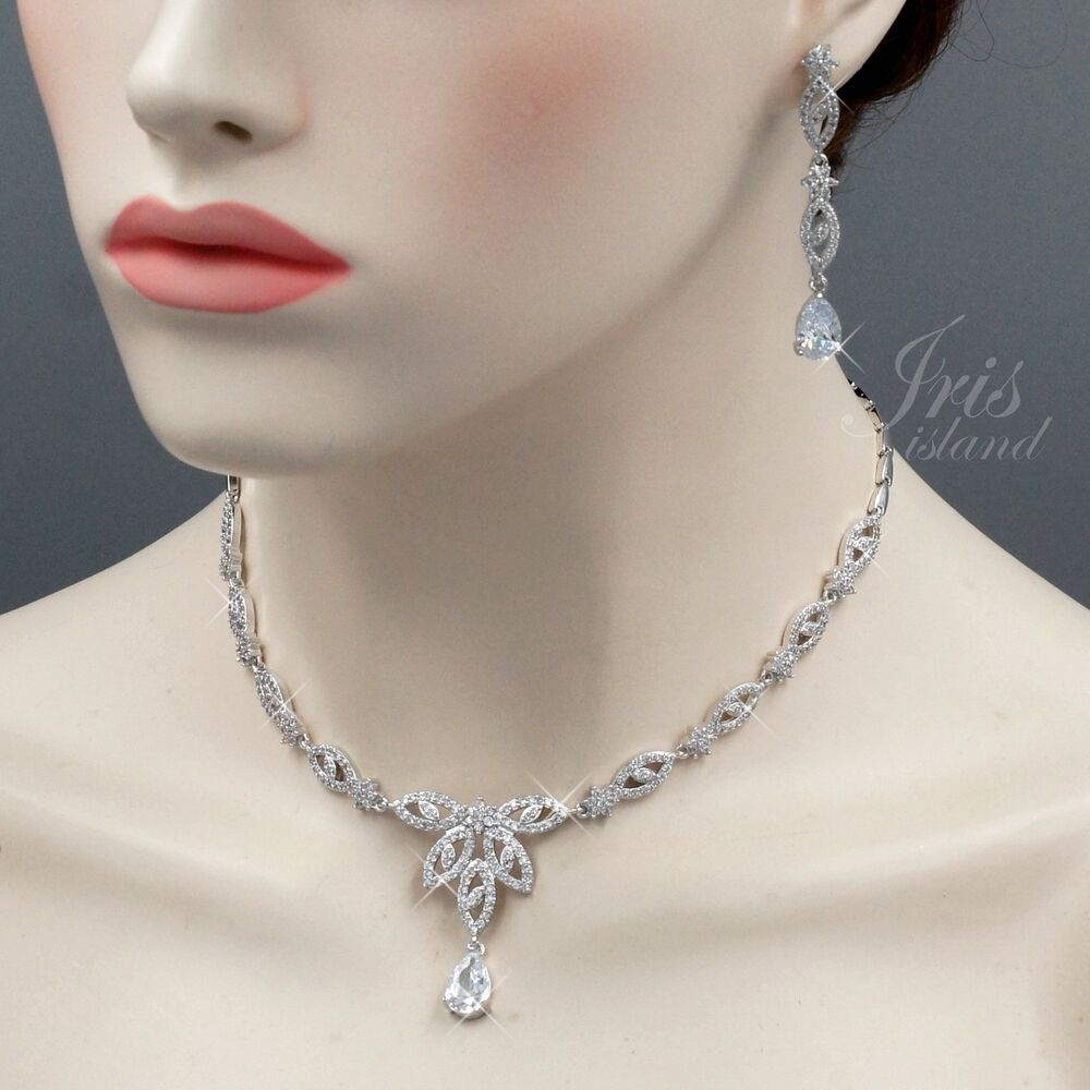 Wedding Earrings White Gold: White Gold Plated Clear Cubic Zirconia Necklace Earrings