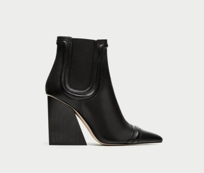 7c777f9b8e1e5 Details about ZARA STUDIO NEW HIGH HEEL LEATHER ANKLE BOOTS WITH ELASTIC  SIDE TABS 5133 201