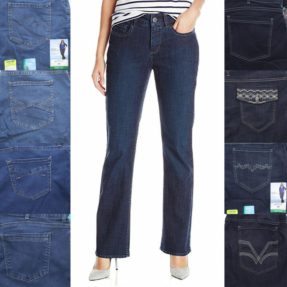 d92dd580 Details about Riders by Lee Women's Comfort Waist Mid Rise Boot Cut Jeans,  Irregular