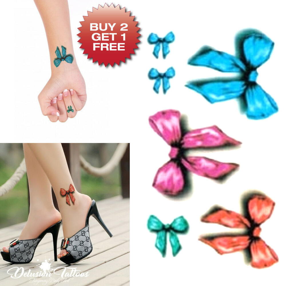 186803568 Details about SMALL 3D BOWS TEMPORARY TATTOO, SET OF 6, ANKLE, WRIST, WOMENS,  GIRLS, KIDS