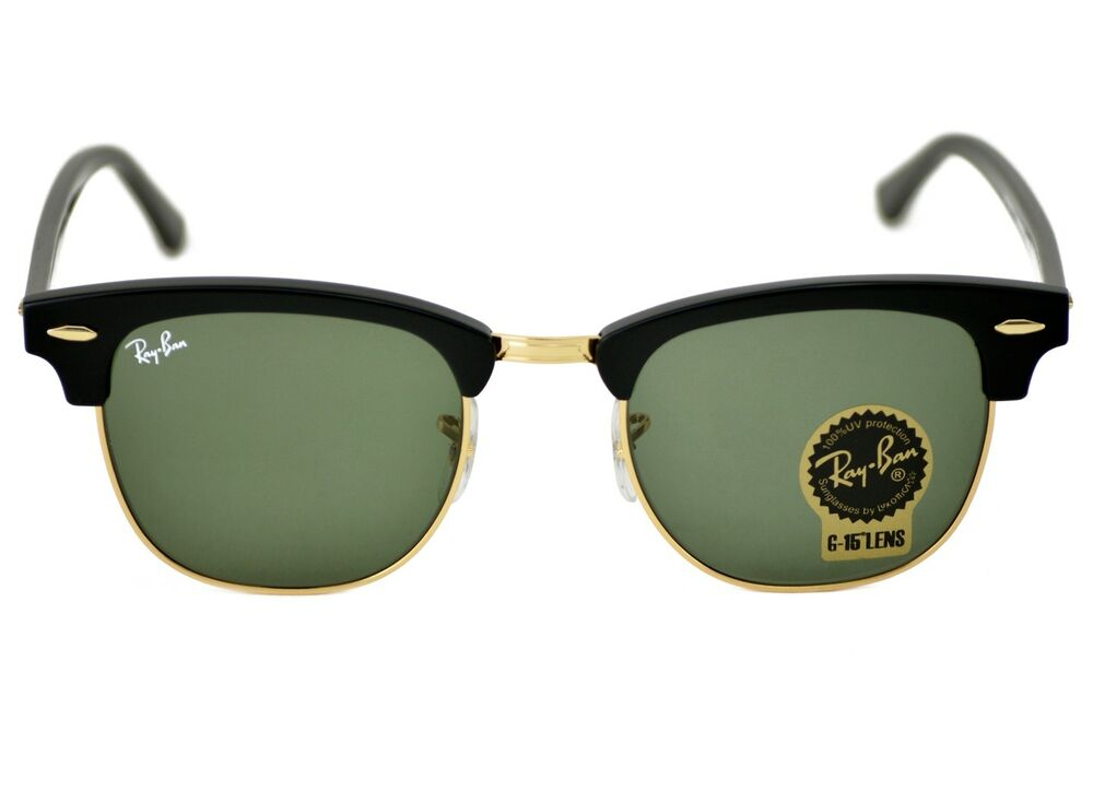 Details about Ray-Ban RB3016 Clubmaster Classic W0365 Black Frame Green  Classic G-15 Lenses af7b96d65d