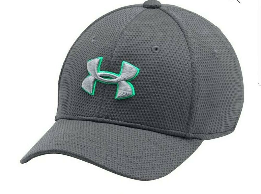 447622e817c Under Armour Boys  Blitzing II Stretch Fit Cap Graphite Vaporgreen SM MD