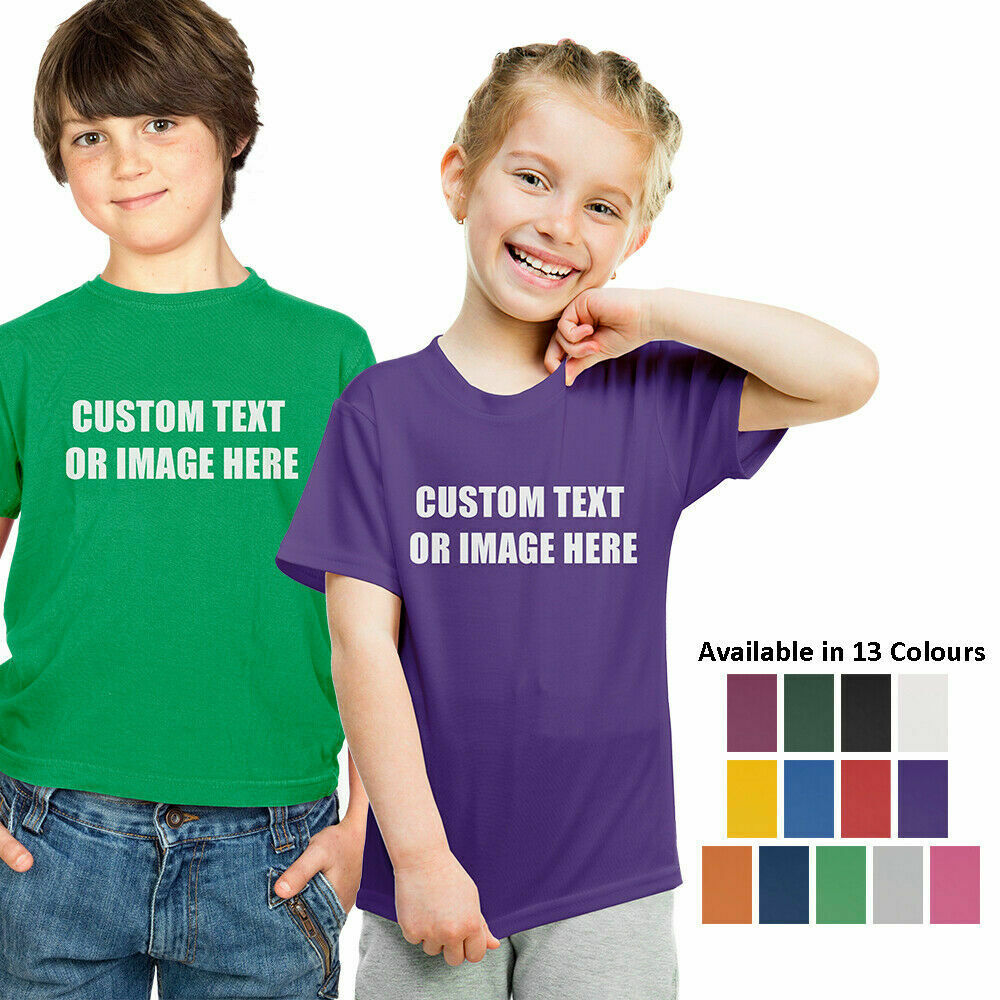 Details About Personalised Childrens T Shirt Custom Printed Kids Birthday Tee Top Photo Text