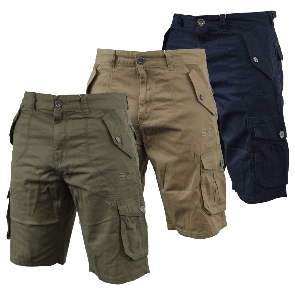 a51f914c25 Details about Mens Cargo Short Crosshatch Thorley Casual Chinos Short