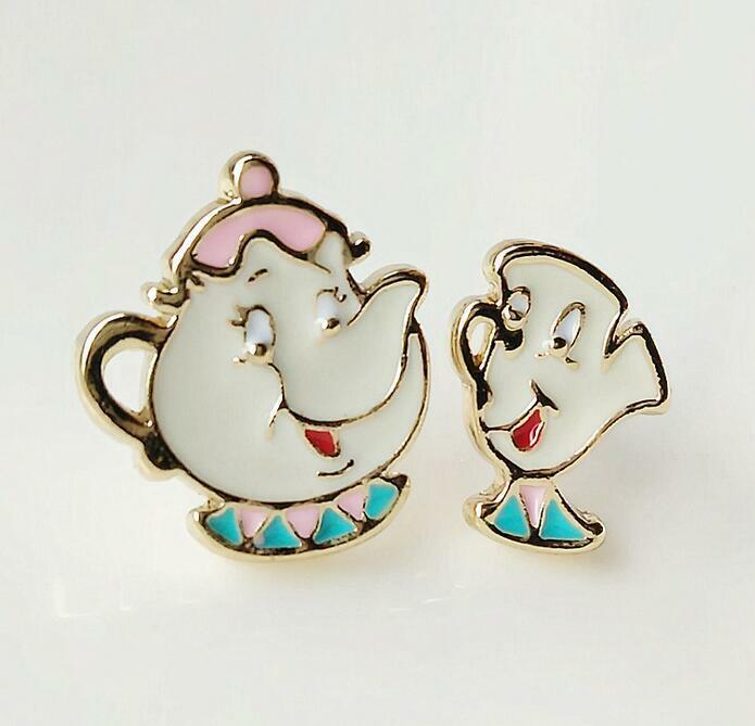 Beauty And The Beast Teapot Metal Earring Ear Stud