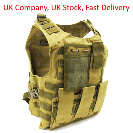 img-Khaki Tactical Vest for Airsoft Paintball / Molle Compatible with Mag Pouches