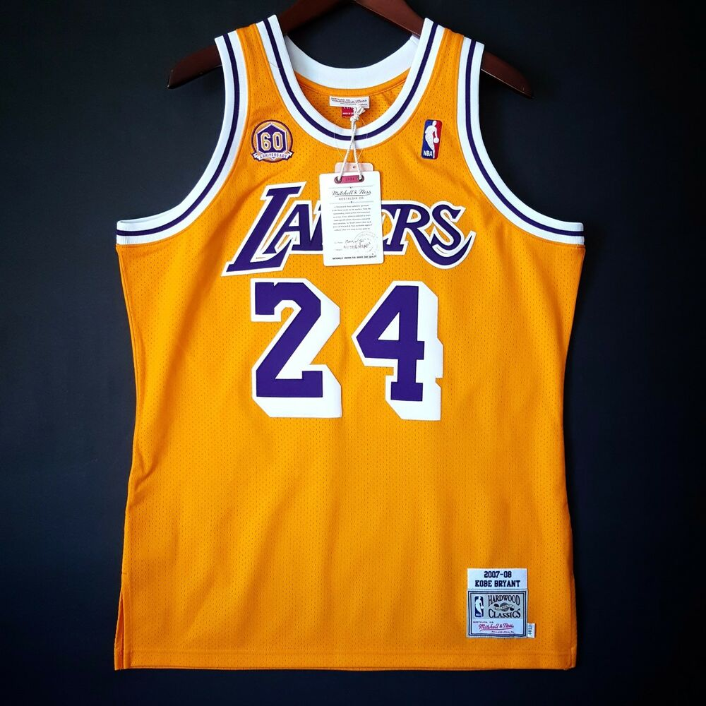 d9901f144 Details about 100% Authentic Kobe Bryant Mitchell   Ness 07 08 Lakers Jersey  Size 56 3XL Mens