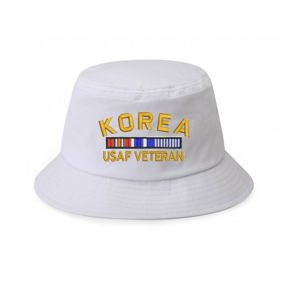 4ee9fcdb4da Details about 100% Cotton White Bucket Cap Hat KOREA USAF AIR FORCE VETERAN  RIBBON