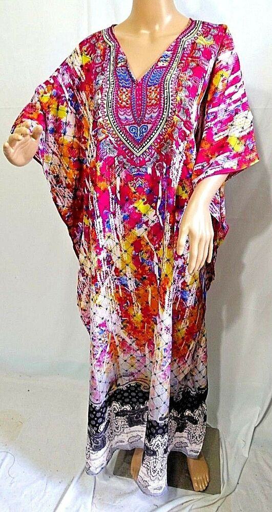 be5bc7bddbf8ad Details about Jessica Taylor Women Plus One Free Size Tunic Caftan Dress  Cover Up Fuchsia