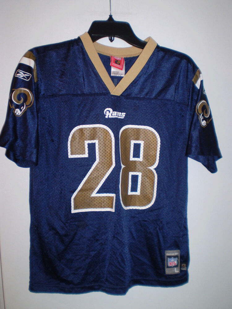2f4037ee4 Details about ST LOUIS RAMS Jersey YOUTH L Large 14-16 MARSHALL FAULK  28  Blue Gold REEBOK NFL