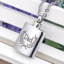 Dad Flask Cremation Ashes Jewelry Keepsake Memorial Urn Pendant Necklace