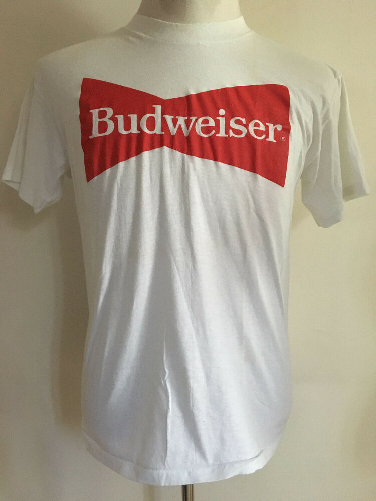 e5e41dc6 Details about RARE VINTAGE BUDWEISER T-SHIRT 1970's 1980's MAE IN USA MEN'S  SIZE SMALL MEDIUM
