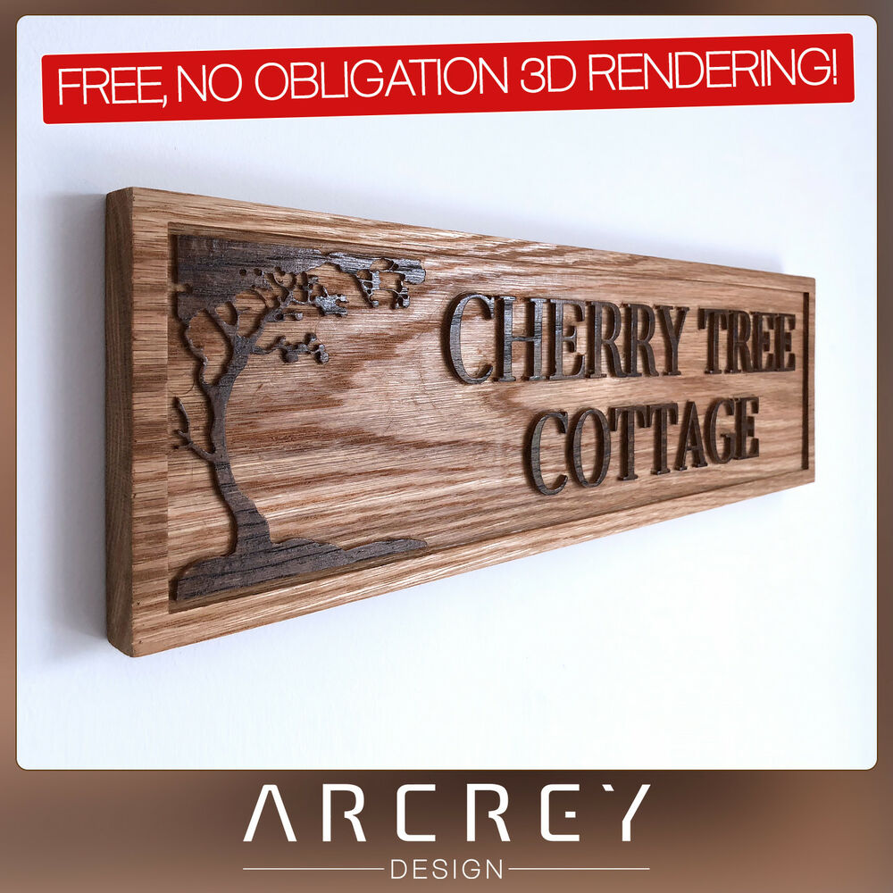 Details about personalised oak address sign custom engraved outdoor wooden name house plaque