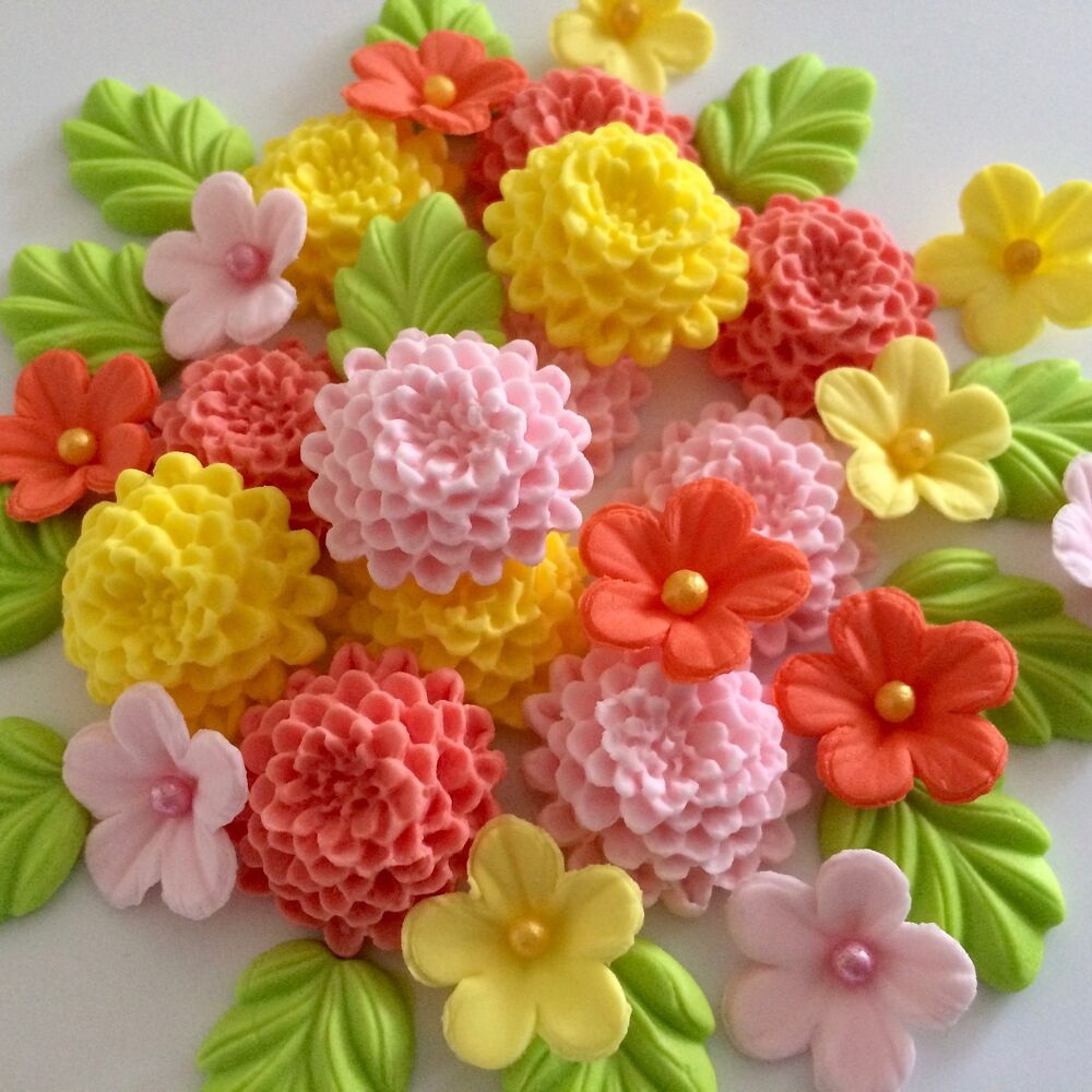 Details About BRIGHT CHRYSANTHEMUMS Edible Sugar Paste Flowers Cup Cake Decorations Toppers
