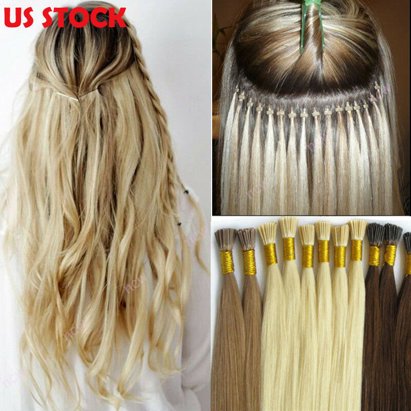 200 Strands I Tip Hair 100g Stick Tip Remy Human Hair Extensions