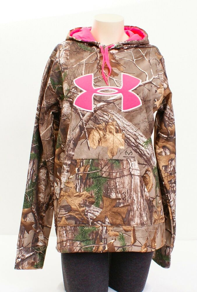 03b239e5b2e96 Details about Under Armour Coldgear Big Logo Realtree Camo Pullover Hunting  Hoodie Women's NWT